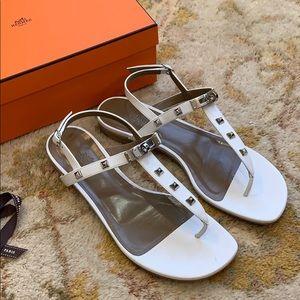 Hermès Olivia White Kelly Buckle Sandals Size 39